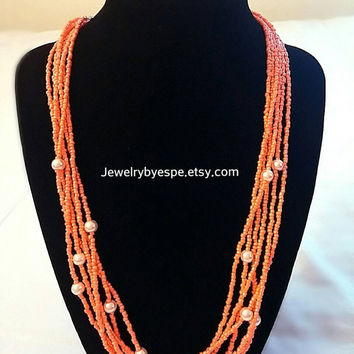 Multi Strand Orange  Necklace, Seed Bead Necklace, Neon Necklace, Multistrand Necklace,  Bridesmaid Weddings Beach Necklace, Boho Preppy
