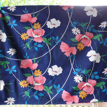 Vintage Cranston Quilters Cotton Fabric/Designed by Swartz and Leisman Tek/3 Yards 34 Inches/Large Floral Print on Midnight Blue Background