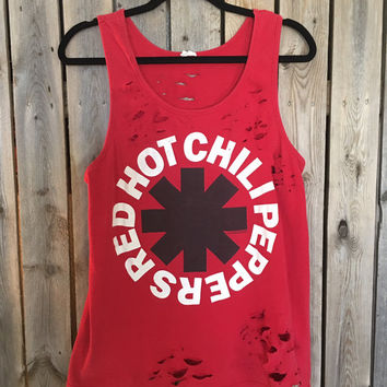 Red Hot Chili Peppers //tank// grunge// cut off // band shirt // Rock tee //concert shirt // rock // rock shirt