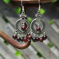 Red Garnet Stone Chandelier Earrings ~ January Birthstone ~ Boho Jewellery ~ Tibetan Silver ~ Anniversary Gift ~ Birthday Gift ~ Unique gift