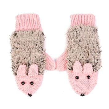 New Winter Warm Cartoon hedgehog gloves women cute knit outdoor Female cotton white Mittens