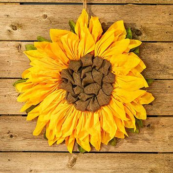"Sunflower Wall Hanging Burlap 21"" Diameter Large Oversized Vibrant Color"