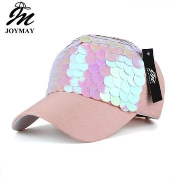 Trendy Winter Jacket JOYMAY Spring New Fashion Women Baseball cap with Sequins Shining Bling Adjustable Leisure Casual Snapback HAT B438 AT_92_12