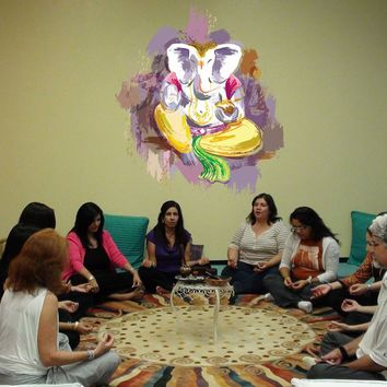 cik782 Full Color Wall decal elephant god Ganesh Hindu meditation hall bedroom hall