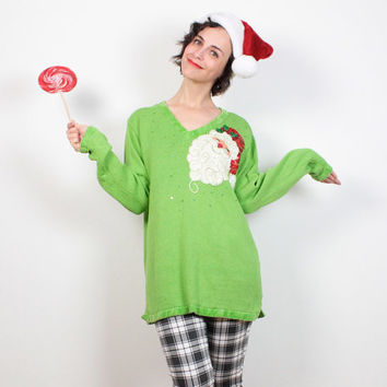 Vintage Tacky Christmas Sweater Light Green SANTA Sequin Beaded Holiday Ugly Xmas Sweater Party Ugly Christmas Jumper Sequined  M L Large XL