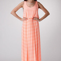 Neon Coral Stripe Maxi Dress