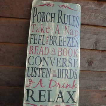 Porch Rules, wood sign, outside decor,  distressed sign, primitive decor