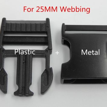 Free Shipping 5Pcs For 25mm Webbing Side Release Metal+plastic Buckles Shackle for DIY Backpack Bags Parts Accessories