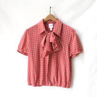 Pink Polka Dot Blouse, Vintage Silk with Neck Tie Bow, Size Medium Top
