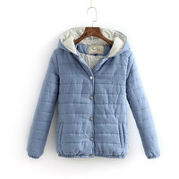 Hooded Long-Sleeve Button Pocket Winter Jacket