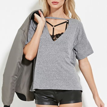 Cutout-Front Heathered Tee