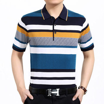 Stylish Stripes Knit Men's Fashion Luxury Men Short Sleeve T-shirts [6544162115]