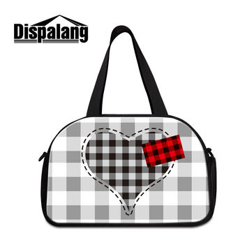 Dispalang men business trip travel hand bags plaid pattern weekend duffle bag for students women's portable luggage shoulder bag