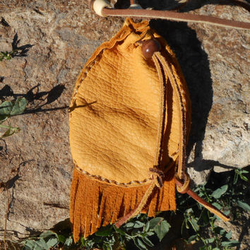 Medicine Bag with Fringe, Medicine Pouch, Handmade, Native American, Powwow, Mountain Man, Hippie, Leather Pouch, Tribal