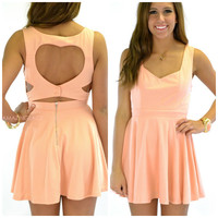 Queen of Hearts Peach Cut Out Summer Dress
