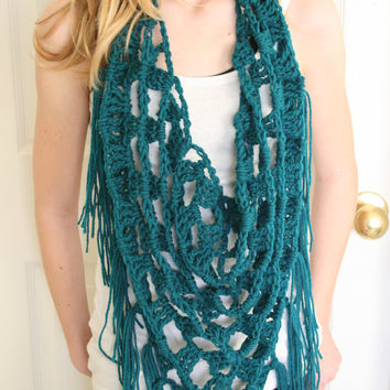 Teal Triangle Neck Scarf Crochet Cowl Necklace by nightowlcreates