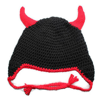 Baby - Devil / Demon / Satan Hat Handmade Crochet Red And Black Baby Boy Halloween Costume Outfit
