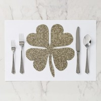 Good Luck Symbol Elegant Gold White Clover Paper Placemat