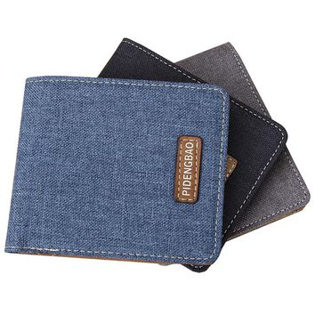 Wallet New Fashion Men Wallets Brand Canvas Leather Wallet Men Card Holder Short Casual Design Wallet Purse Carteira Masculina