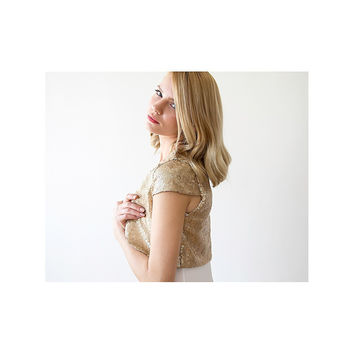 Gold Bridal bolero, Gold sequin Bolero , Wedding shrug, Bridesmaid bolero, short sleeves Jacket, Gla