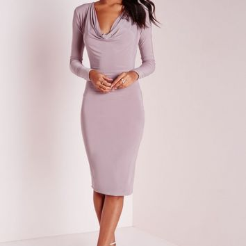Missguided - Slinky Cowl Front Midi Dress Mauve