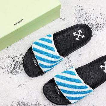 Off White C/o Virgil Abloh Ow Black Blue Slide Slippers