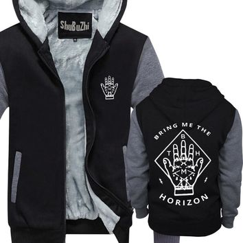 mens winter warm hoodies thick fleece coat Bring Me The Horizon The H BMTH man Casual Brand Tracksuit Sweatshirts euro size