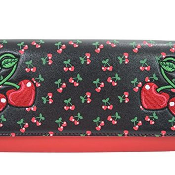 Banned Rockabilly Pin-Up Cherry Love Large Clutch Wallet Crossbody Purse