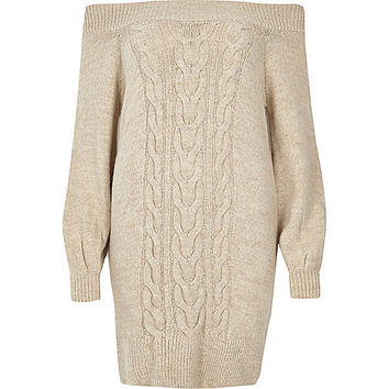 Oatmeal cable knit bardot jumper dress - day / t-shirt dresses - dresses - women