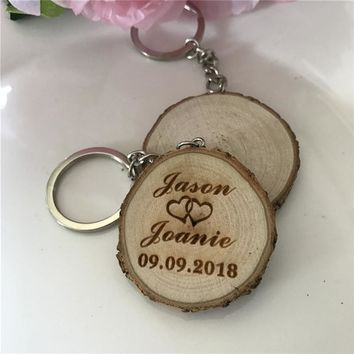20pcs/lot Personalized Wood Keychain Rustic Wedding Gifts