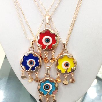 Evil eye necklace, murano glass evil eye neckace, evil eye charm necklace