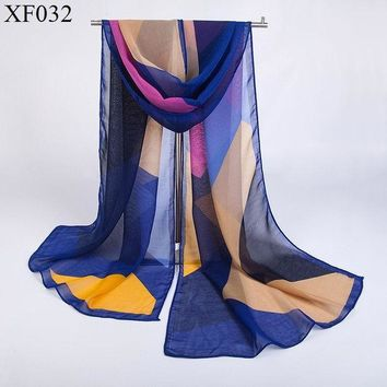 CREYU3C Fashion New European Geometric Irregular Chiffon Scarf Plaid Scarves Scarf Korean Fashion Luxury Brand Beach Scarf For Women