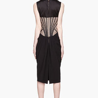 Alexander McQueen Black And Beige Mesh Corset Dress for women | SSENSE