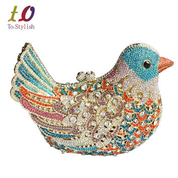 2016 popular luxury evening bags Sparkly Crystal women Clutch bags Colorful Bird pattern Ladies dinner bags Clutches purse SC035