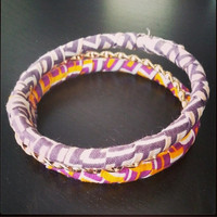Nigerian Triple Banded Bangle Braclet in Purple Fabrics with Gold Twisted Band