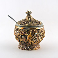 Ornate, Retro Floral, Condiment Jar with Lid, Glass Insert and Nickel Silver Spoon, Copper Tone