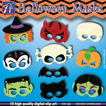 Halloween Party Masks Clipart, DIY Halloween Digital Clip Art Pack, Halloween Paper Craft, Halloween party,Halloween kids, Party Supplies