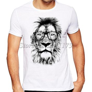 2016 Newest Fashion The King Lion Wear Glasses Printed T-Shirt Men's Summer Cool Design Tops Funny Custom Hipster Tees