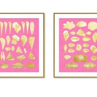 Nautical Wall Art, SET Of 2, Bright Pink Gold Wall Decor, Seashells, INSTANT DOWNLOAD, Beach, Bathroom Decor, Printable Art, Pop of Pink
