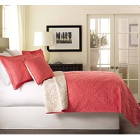 Tache 3 Piece Pink Luxembourg Coral Reversible Bedspread Set