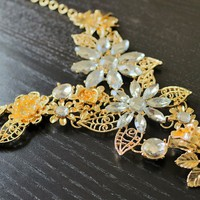 Flower Gold Necklace - Statement Necklaces, Chunky Necklaces, Choker Necklace
