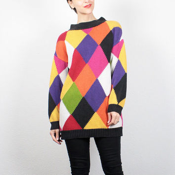 Vintage 80s Sweater Rainbow Harlequin Diamond Knit Jumper 1980s Sweater New Wave Pullover Color Block Sweater Cozy Cosby Sweater M L Large