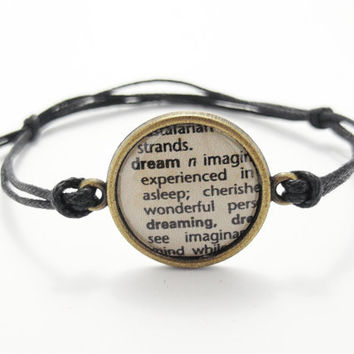 Dictionary Image Cord Bracelet - Word Definition On Vintage Paper.Choose Word - Karma, Love, Dream, Hope, Fate,Friend ,Believe, Peace, Laugh