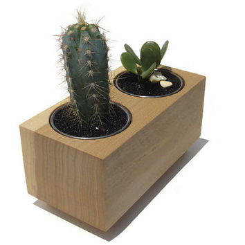 Succulent planter - Poplar Handmade Planter with a natural finish, for birtday and wedding, wood planter.
