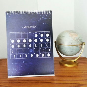 2015 Moon Cycles Desk Top Calendar - Lunar Moon Desk Top Calendar - Moon Phrases  Calendar