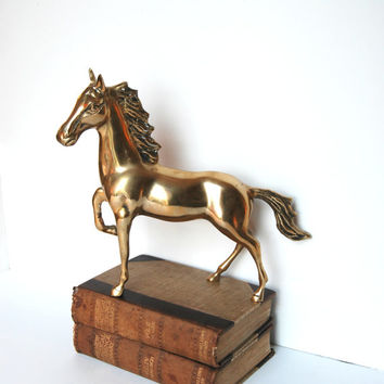 Large Vintage Brass Horse - Horse Figurine - Horse Statue - Equestrian - Hollywood Regency Decor