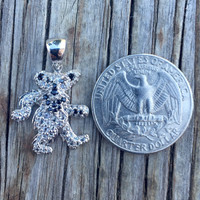 Grateful Dead, Sterling Silver Dancing Bear Charm Necklace with White Zircon and Black Spinel Gems, Pendant