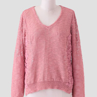 Cotton Candy Crochet Detail Sweater