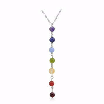 Reiki Healing Spiritual Beads Chakra Pendant Yoga Long Tassel Chain Necklace For Women Yoga Gifts Jewelry
