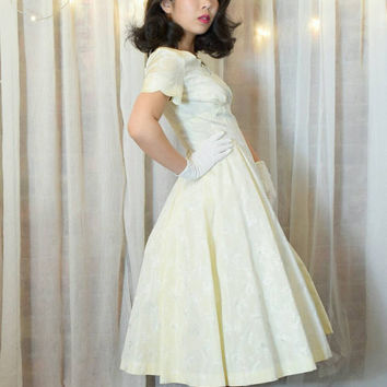 Vintage 50s Homemade Ivory Formal Dress